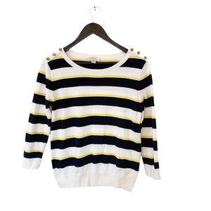 Loft Navy White Yellow Striped Boatneck Brass Button Lightweight Preppy Sweater